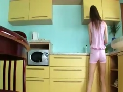 luxury toying vagina about the kitchen
