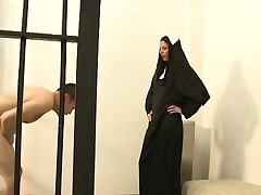 Kinky nun peels off clothes and works her ballbusting magic on a bushwa
