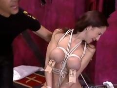 Cruel BDSM Master Tortures Dutiful Brunette Everywhere Large Round Jugs