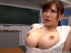 Bubbly Oriental riding with big titties giving a savory tit fuck