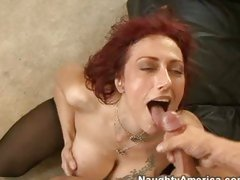 Nikki Sinn working her sexy milf body on a cock and then getting  a money shot