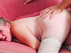 Tattooed GILF receives her constricted butt sex cavity fuck by younger man...