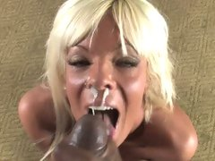 Lewd Jordan Blue gets her face overspread with dick cream