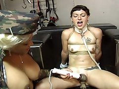 Hot busty mistress gives her serf some bondage initations