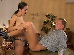 Naughty playgirl teases her dude with a strap-on sex toy before plugging his...