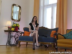 Naughty cleaning woman masturbates before a formidable fuck
