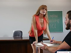 Sex-hungry breasty teacher Darla Crane is fucked by lewd student right on the table
