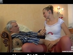Wicked youthful nurse cures her classics patient with muff-diving and dick-riding