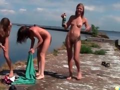 Small boobs bikini amateurs on a boat