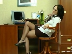 Red sexy number two and her co-worker using lacy pantyhose during a profligate wang break