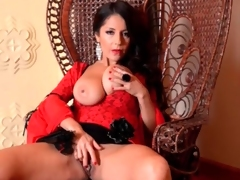 Glamorous milf dominatrix in red lipstick