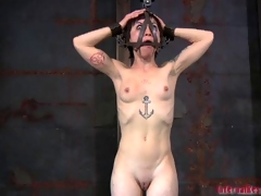 Hotty is caged up fro her hairless fur pie naked