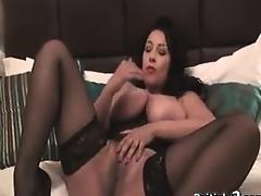 Breasty British Hotty In Stockings Masturbates