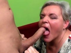 Granny gets on her knees and sucks detect