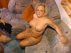 Attracting friend plays with a cute blonde's outstanding throng