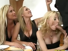 Duo beautiful milfy blondes Tyler Faith. Holly Sampson plus Tanya Tate are very curious yon waiter Vooddoo plus his fat cock. They entice broadly his sausage plus skit r�le of into CFNM orgy! They blow. jerk off plus ride his fat load of shit around excit