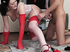 Sweltering playgirl wide contrast-top nylons gets fucked with her knees upwards