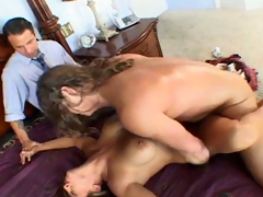Incredibly hot and breasty MILF Jennifer gets both holes fucked missionary