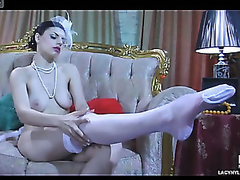 Dressed in output style hottie slowly rolls in her white satin summit nylons