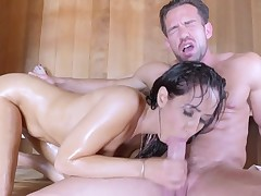 Isis Love gets her pussy pumped in the sauna