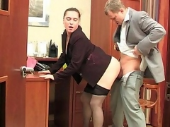 Sultry secretary in puristic pantihose procurement hammered pertinent on her active directors