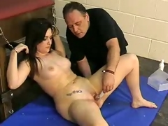 Hot bound chick gets her clit swollen foreign abase