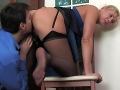 Mature office babe makes a male co-worker hot-to-trot with the addition of ready for a score