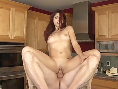 Nikki Knightly enjoys sex with daddy in the kitchen