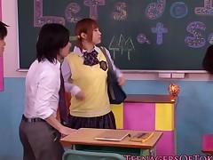 Japanese schoolgirl jerking off in classroom gang