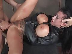 Delightful leather straitjacket primarily a slave slut