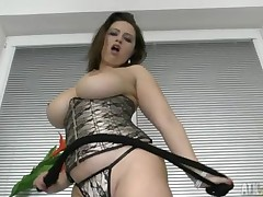 Curvy circle angel is unconditioned in a constricted corset