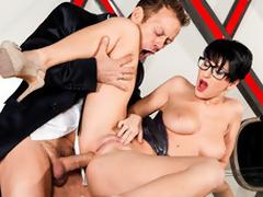 Chap-fallen bedfellow regarding glasses blows and rides Rocco's titanic dick