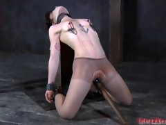 Unfold and gagged babe receives pussy pleasuring