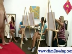 Cfnm get rearrange about models during artclass