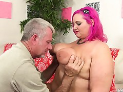 Communistic haired plumper Sara gets her tight snatch stuffed take hard meat