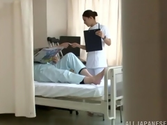 A nurse mouths her patient's cock then lets him team fuck her