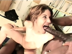 Coarse brunette seizes the chance concerning suck paired with fuck two big nefarious cocks