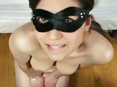 My masked Mexican girlfriend makes cock sucking occur effortless